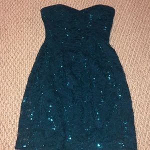 Teal Sequin mini dress size 3/4